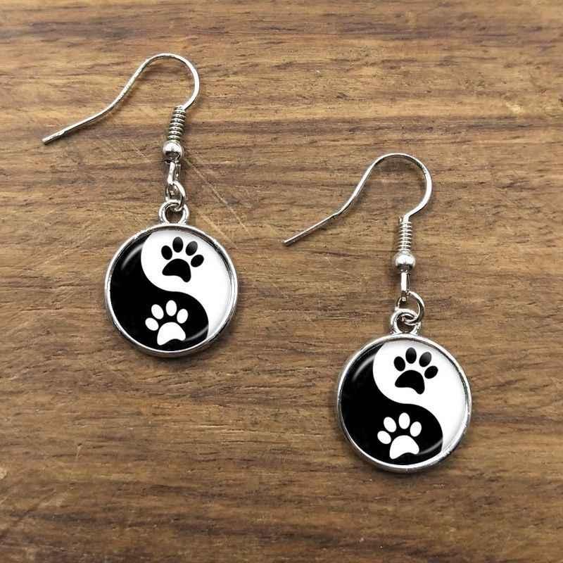 Mode Art Photo peinture à l'huile Yin Yang boucle d'oreille verre dôme Yin Yang bijoux argent plaqué Tai Chi Pendientes longues boucles d'oreilles