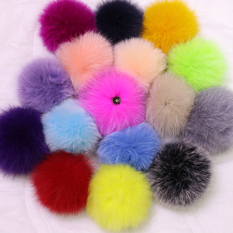16 Colors Real Fox Fur Natural Fur Pompon Ball For Shoes Hats Bags Accessories Genuine Pompom Fur Pom Poms Ball for Hats/ Caps alphbet pompom fashion for car 12cm fluffy real fox fur pompon key ring keychain for bag accessory