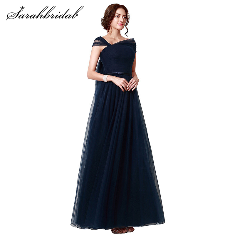 In Stock Navy Blue Long Elegant Evening Dresses Cap Sleeve Tulle Special Occasion Dresses Evening Gown Real Picture Sld208 To Win Warm Praise From Customers Weddings & Events