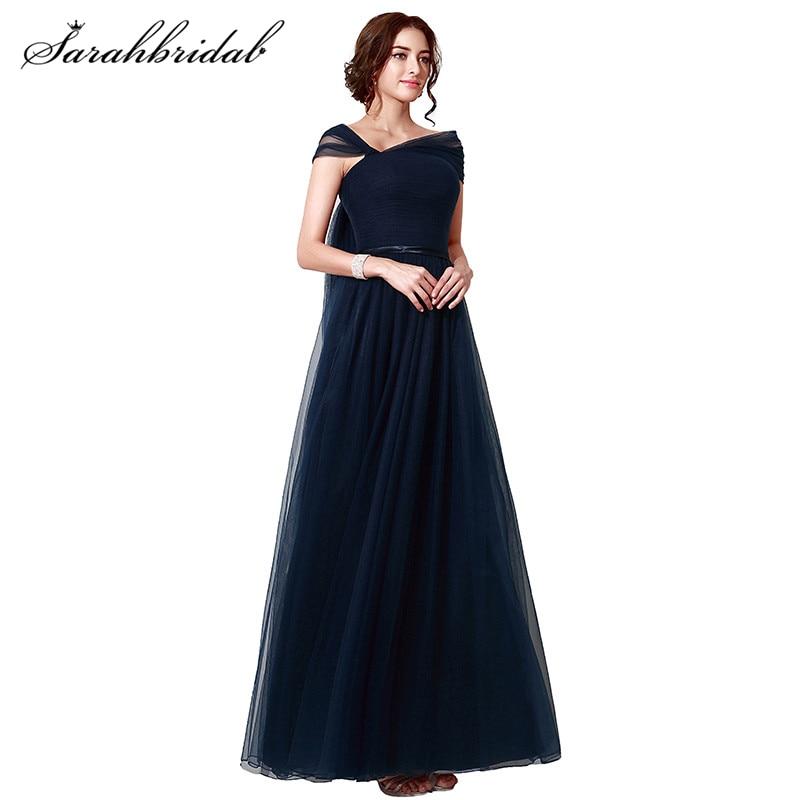 2cd36a71eb W Magazynie Granatowy Długie Eleganckie Suknie Wieczorowe Cap Sleeve Tulle  sukienki na specjalne okazje suknia wieczorowa Prawdziwe Zdjęcia SLD208