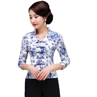 Oversize Printed Flower Chinese Vintage Lady Shirt Ethnic Handmade Button Blouse Slim Cotton Women Tang Clothing
