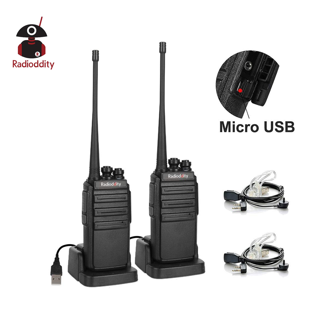 2 Pcs Radioddity GA-2S UHF Two Way Radio 16CH Rechargeable VOX Long Range Walkie Talkie Micro USB Charing With Charger+Earpiece