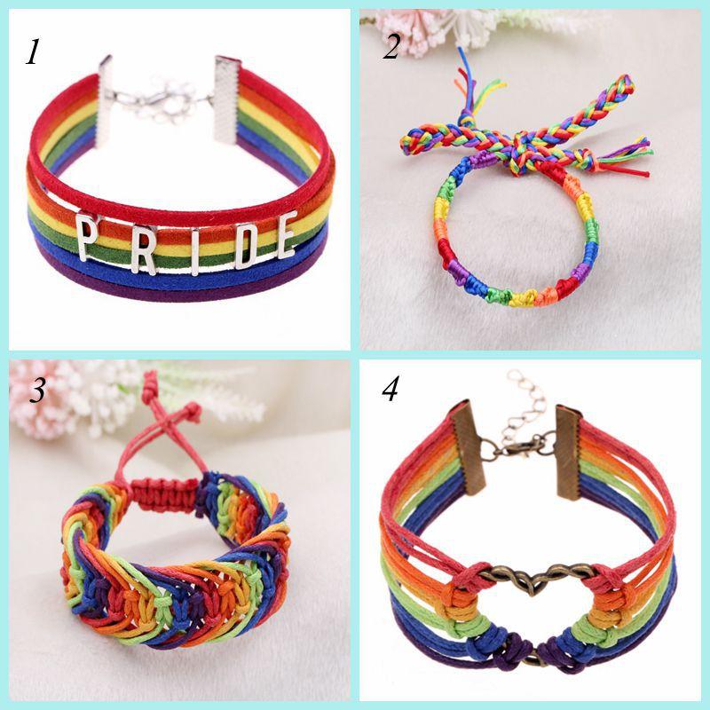 "Rainbow Gay Pride Charming Six Stripes Flag ""PRIDE"" Charm Bracelet  For Women Men Lover Letters Pulseras Braccialetto Tessuto"