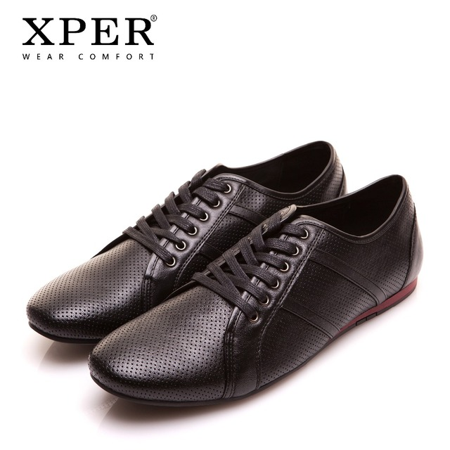 XPER מותג עור נעליים יומיומיות גברים מוקסינים נעלי אופנה עסקי הנעלה לנשימה נעל נוחות דירות חור # YWD86504