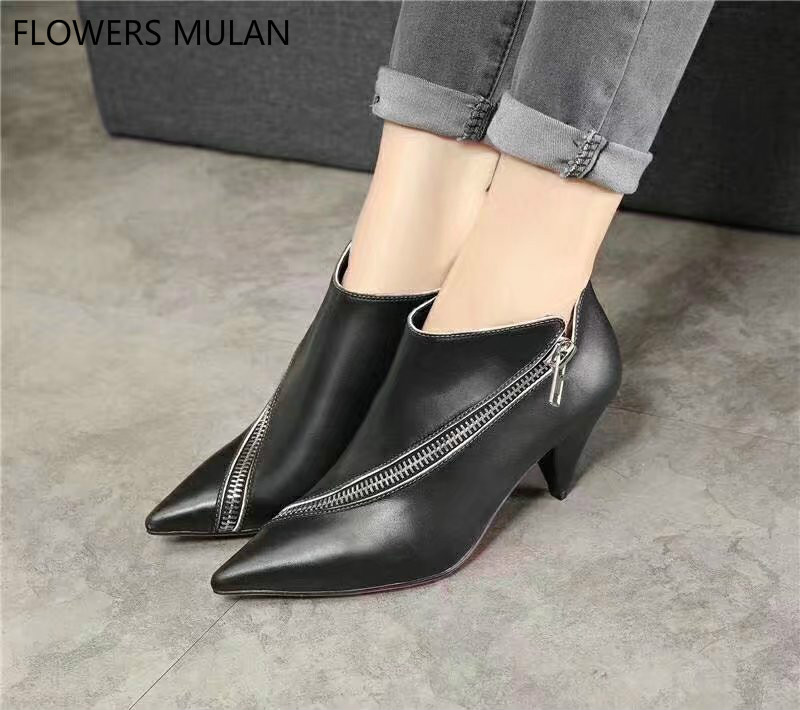 Genuine Leather Ankle Boots For Women Pointed Toe Side Zipper Spike Heels Lady Nude Boots All Match Martin Boots Shoes Woman women s ankle boots strappy pointed toe vogue comfy all match shoes