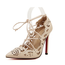 2016 European and American stars big woman with high heels shoes fashion hollow cross straps Asakuchi shoes shoes woman w791