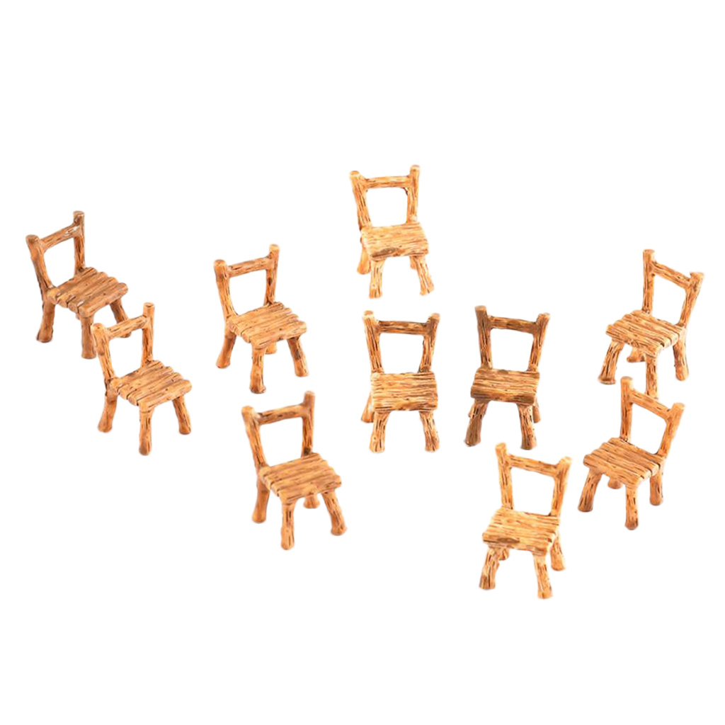 10Pcs Resin Model Scenery Landscape Accessories - Resin Chair Miniatures Set