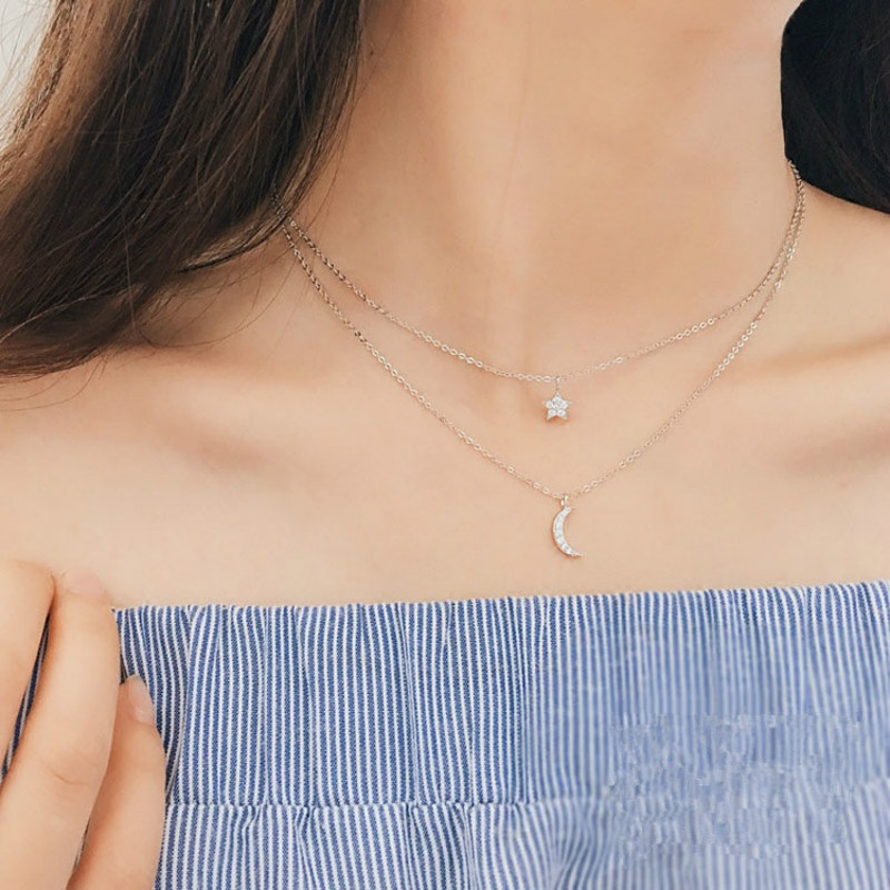 Moon Star Charms Choker Chain Double Layer Necklace Woman Jewelry Necklace 925 Sterling Silver Korean Style Statement Necklace