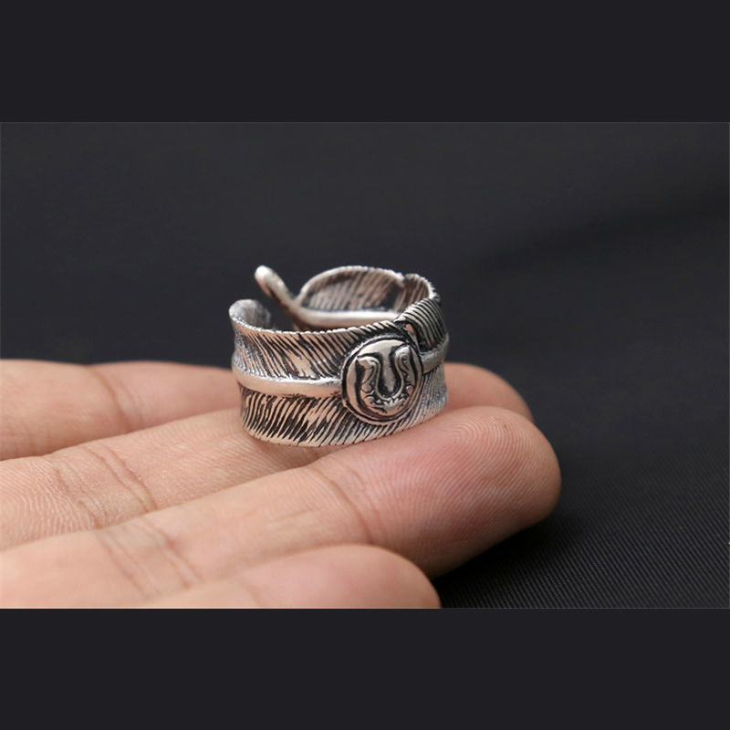 Vintage Design 925 en argent Sterling réglable plume anneaux pour les femmes Sterling-argent-bijoux de mariage bijoux cadeau 177