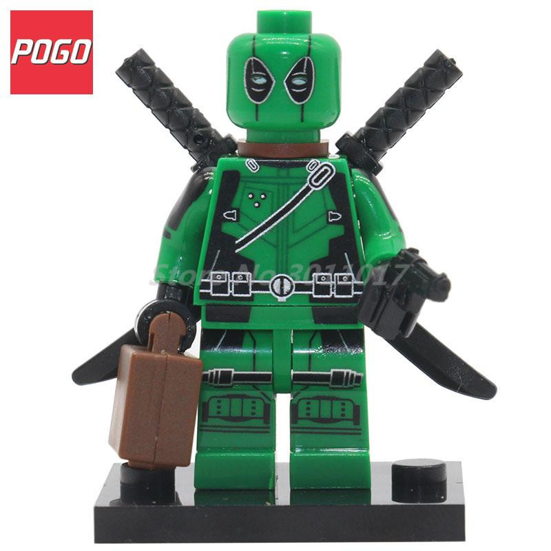 POGO Super Heroes DIY Block Green Deadpool With Weapons Building Model Set Single Sale Classic Bricks Toys Compatible