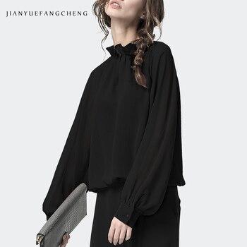 Blusas elegantes negras de gasa para mujer, cuello con volantes, cuello con agujero en la llave, manga larga, jerséis de verano holgados de talla grande para primavera