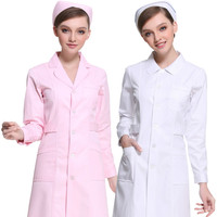 Men Medical Clothes White Lab Coats Nurse Work Wear Uniforms Scrub Medical Doctor's Long Sleeve Jacket