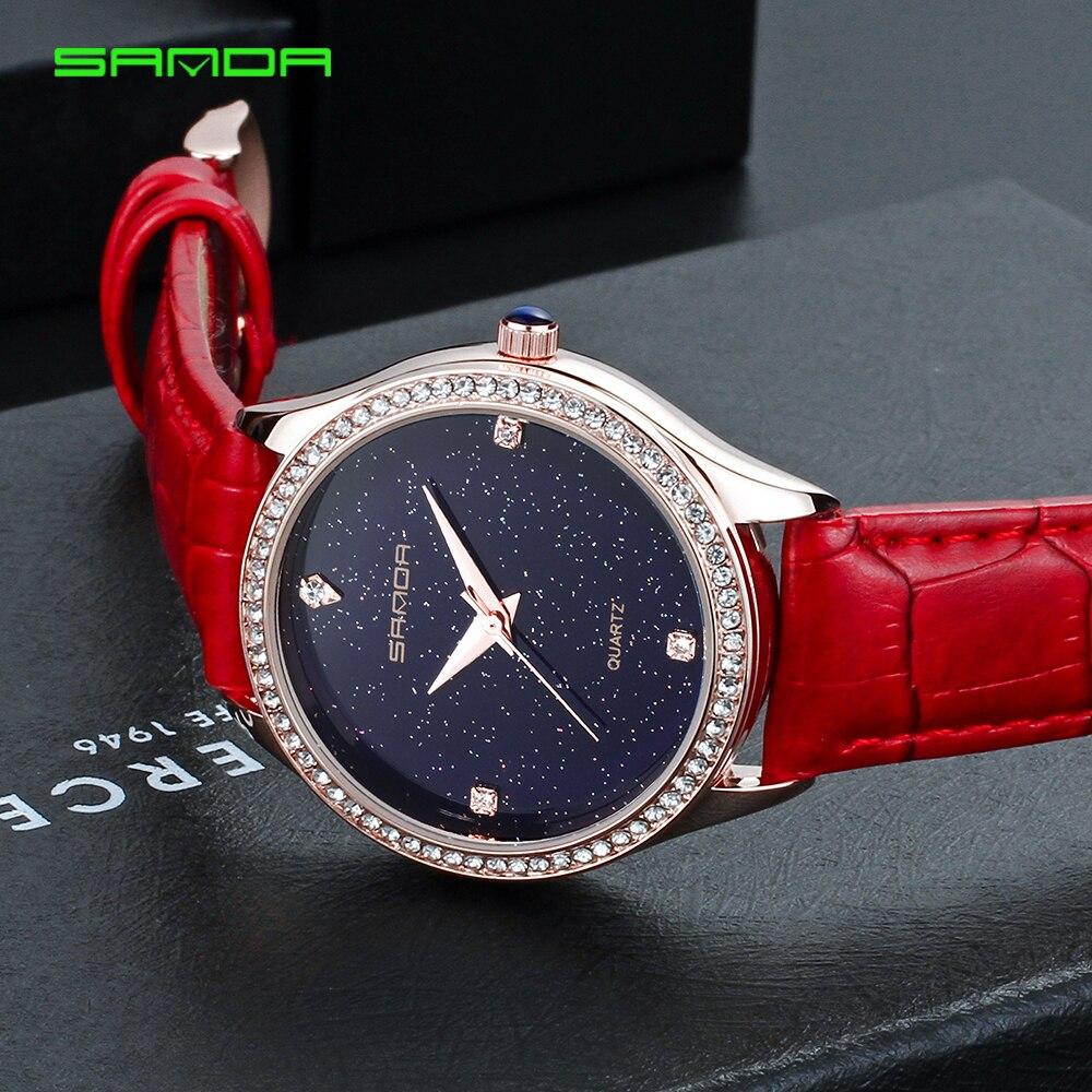 SANDA женские часы 2018 брендовые Роскошные знаменитые женские наручные часы женские часы Montre Femme Relogio Feminino bayan kol saati P214