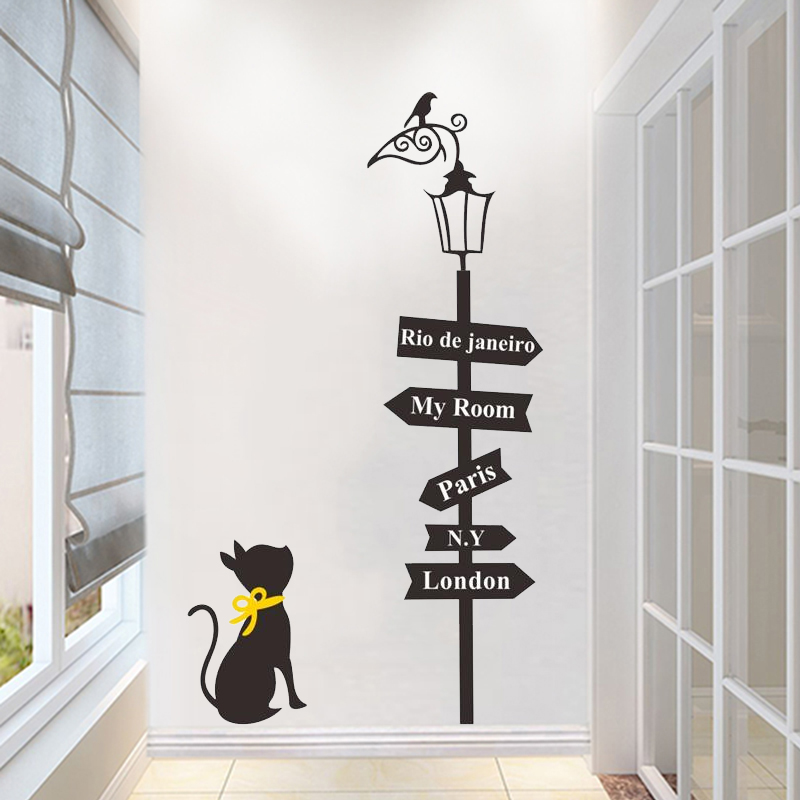 creative way sign cute cat bird light wall sticker home decor living room cartoon animal wall decal paris london words mural art