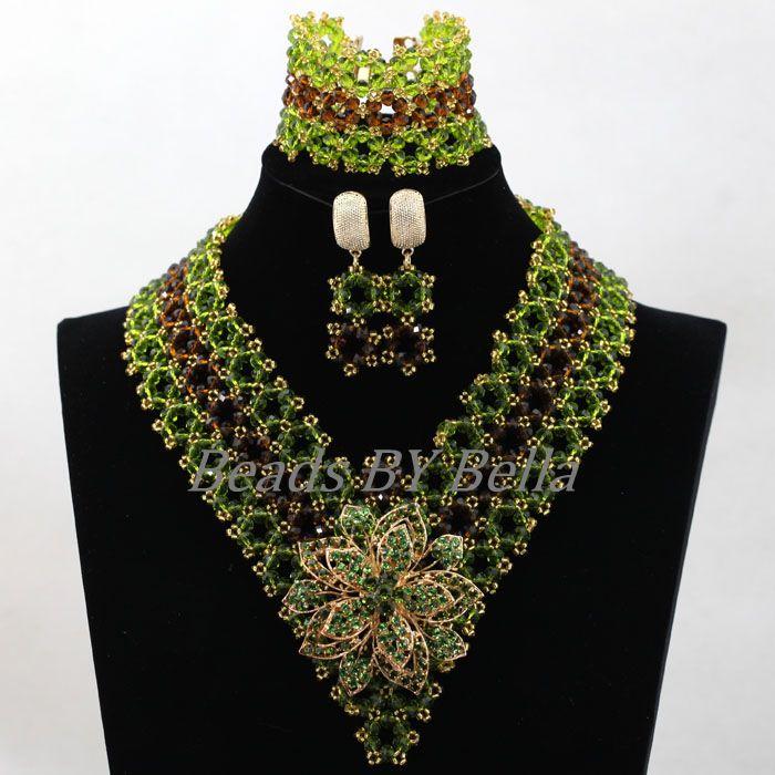 Ensembles de bijoux de Costume africains chauds faits à la main vert marron cristal femmes nigérian fête perles dentelle ensembles de bijoux livraison gratuite ABK983