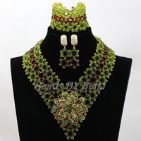 Handmade Hot African Costume Jewelry Sets Green Brown Crystal Women Nigerian Party Beads Lace Jewelry Sets Free Shipping ABK983