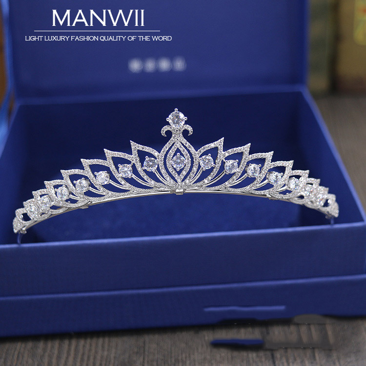 Luxury Zircon Bridal Crown Headdress Birthday Party Dress Up Jewelry Wedding Wedding Accessories Women's Hair AccessoriesHA20177 fashion bridal veils party wedding hair accessories flower girls bridesmaid hair band floral lace veil headdress free shipping