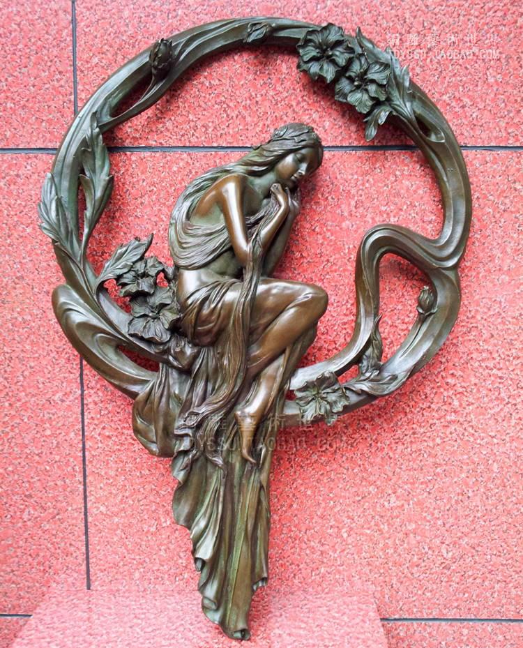 Ancienne antique Bronze Arts & artisanat jeune fille cuivre mur sculpture cuivre artisanat maison accessoires tenturesAncienne antique Bronze Arts & artisanat jeune fille cuivre mur sculpture cuivre artisanat maison accessoires tentures