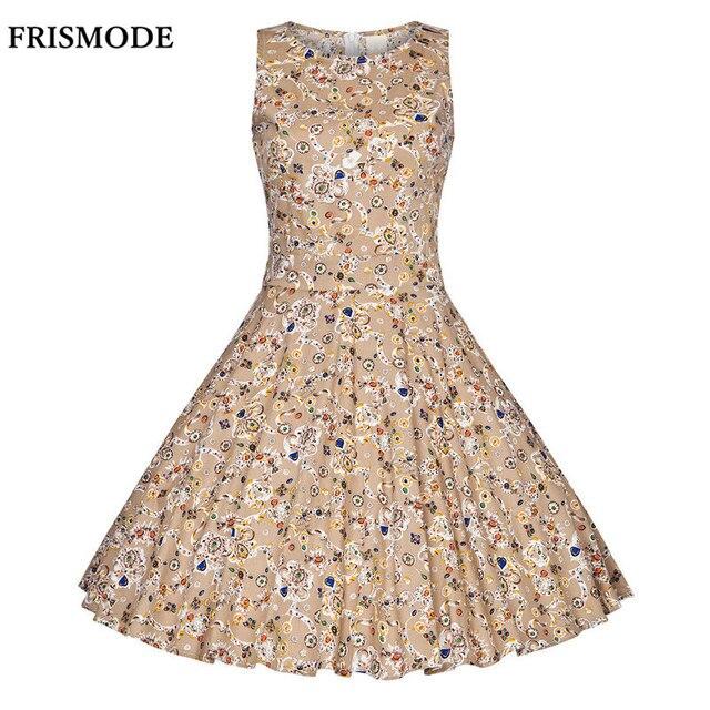 FRISMODE XS-4XL 100% Cotton Gemstone printing Vintage Dress 2018 Summer  Sleeveless Swing 50s rockabilly dress Women Vestido 2b155563def5