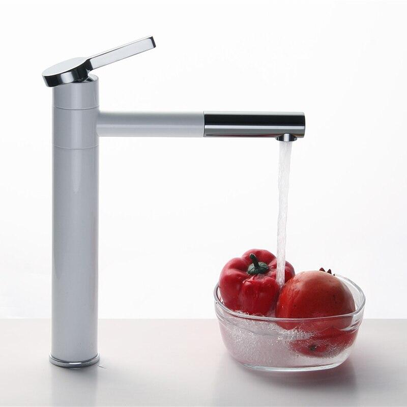 Robinet de lavabo de Type rotation 360, blanc et chromé, robinet de salle de bain à une main, mitigeur de lavabo, robinet de lavabo