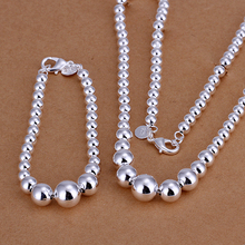 2015new925 sterling silver big small ball links chains necklace bracelet for women men's fine fashion jewerly trendy promotion