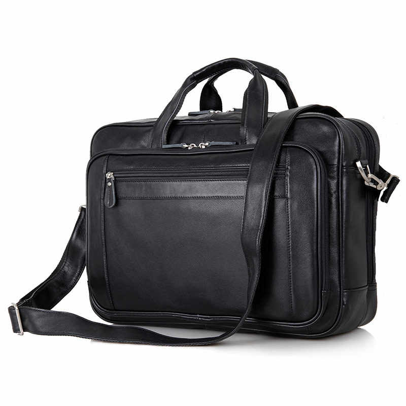 368e13f3f789 Nesitu большой черный наппа натуральная кожа мужской портфель 17 дюймов  портфель для ноутбука мужские сумки-