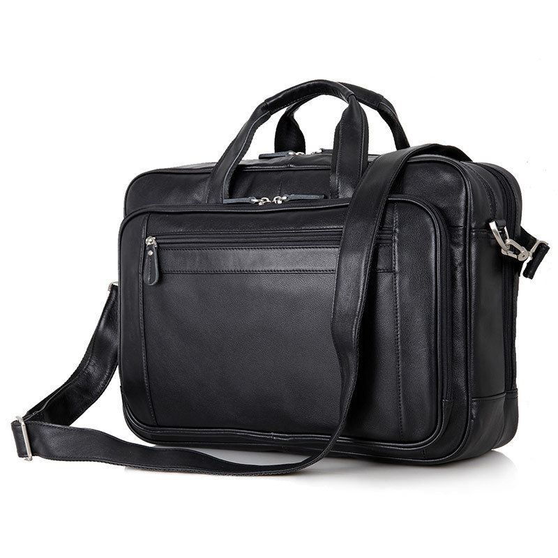 Nesitu Large Black Nappa Genuine Leather Men Briefcase 17 inch Laptop Portfolio Men Messenger Bags Business Travel Bags #M7367-in Briefcases from Luggage & Bags    1