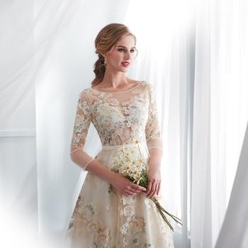 Floral Prom Dresses Walk Beside You Lace 3/4 Sleeves A-line Champagne Belt Empire Waist Long Evening Gowns Vestido De Formatura 6