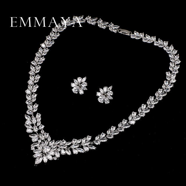 Emmaya новый топ белый золотой пластина цветок aaa кулон/серьги