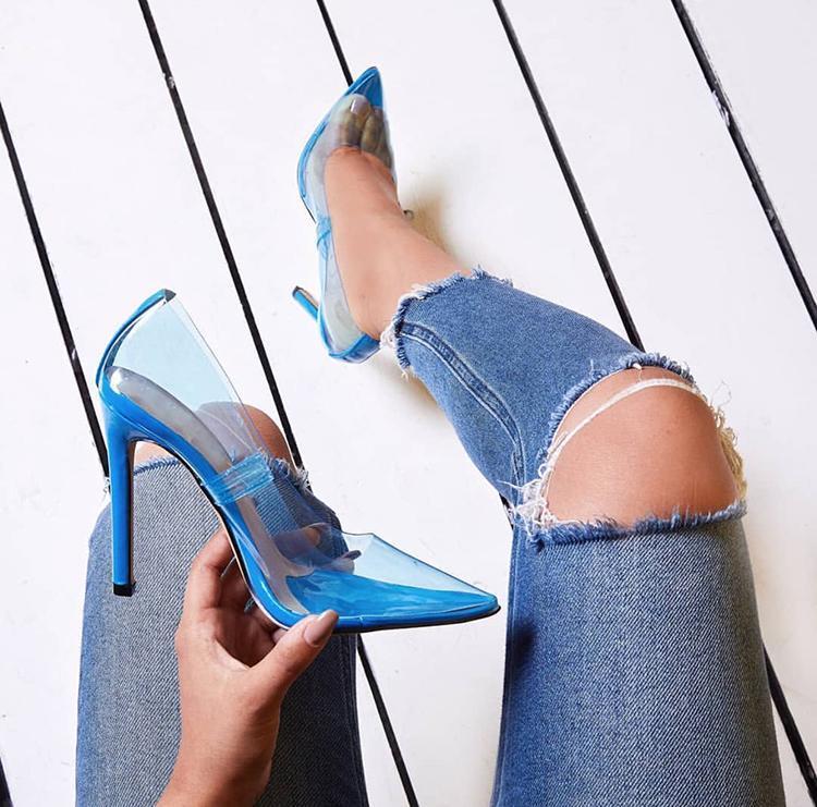 2018 Estate Nuova Sfilata di Moda Punta a punta IN PVC Trasparente Superiore High Heels Scarpe Donna Slip On Tacchi A Spillo Zapatillas Mujer - 6