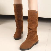 big size 2014 Autumn Winter stylish flat flock shoes fashion knee high boots women casual princess sweet snow