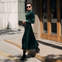 VERRAGEE women new 2018 autumn winter velvet dress long green red color cyan formal patchwork maxi vintage dress elegant vestido