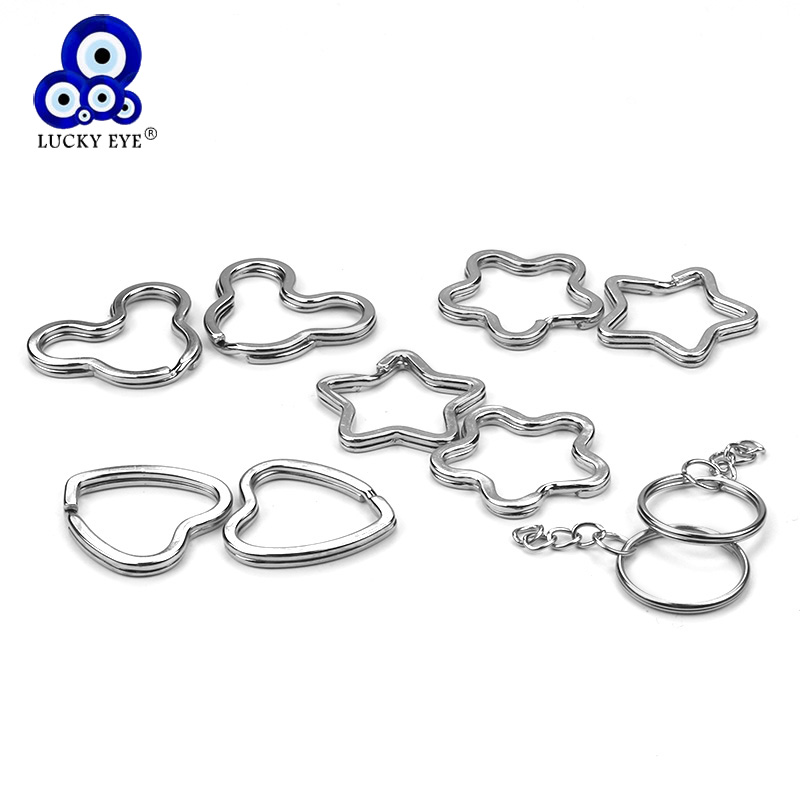 Lucky Eye 10pcs/lot Heart Star Keychain Metal Silver Color Clasps Key Chain Lobster Clasps Accessories Car Key Handbag EY621