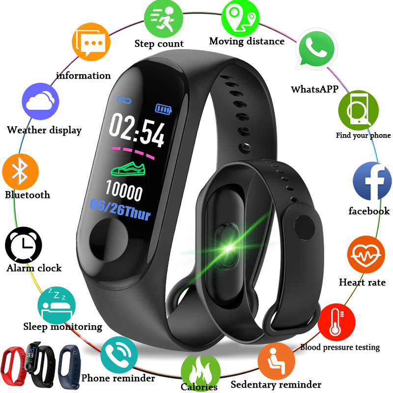 2019 New Men Smart Band Fitness Tracker Heart Rate Blood Pressure Sport Bracelet Smart Watch LED Color Touch Screen+Box