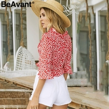 BeAvant Chic v neck print chiffon blouse shirt women Ruffle tie up summer blouse Sweet crop top flare sleeve sexy blouse 2018