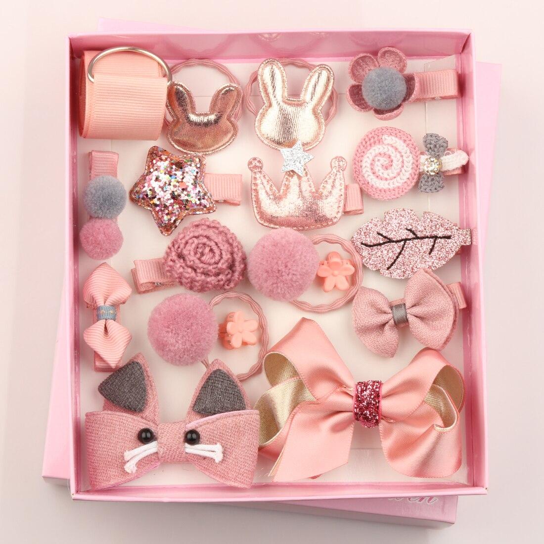 18pcs/box Girls Birthday Gift Set Sweet Head Wears Cartoon Hairpins Kid Hair Bows Barrettes Pom Pom Ball Rabbit Rubber Bands Delaying Senility