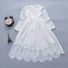 فستان جديد 2019 للفتيات مصنوع من الدانتيل باللون الأبيض بأكمام طويلة فستان الأميرات للأطفال والرضع فساتين للفتيات الصغيرات