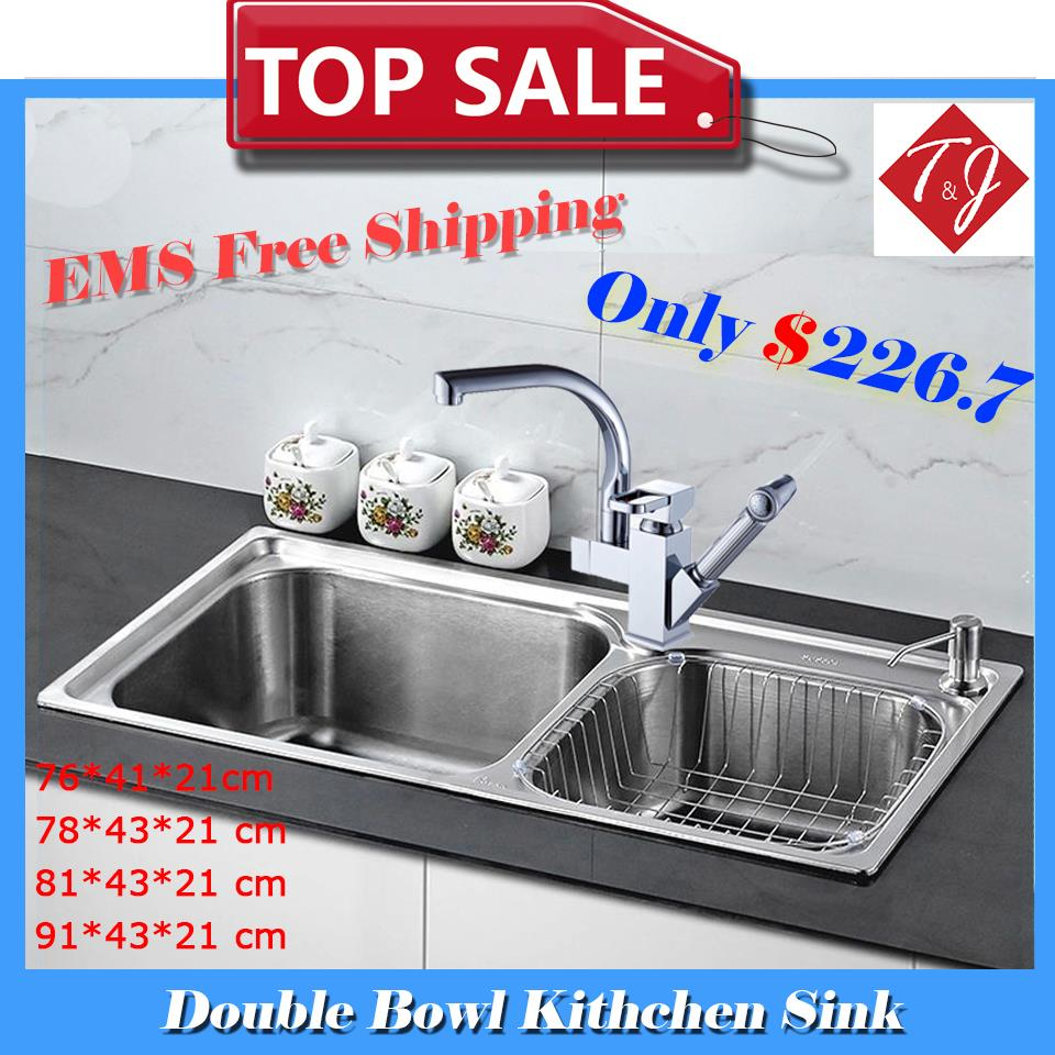 4 sizes double bowl kitchen sinks stainless steel kitchen sink with pull out sink mixer tap - Brushed Steel Kitchen Sinks