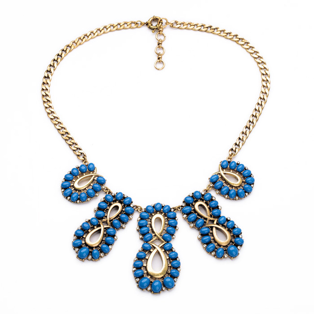 Geometric Imitation Gemstone Blue Necklace for Women Fashion Vintage