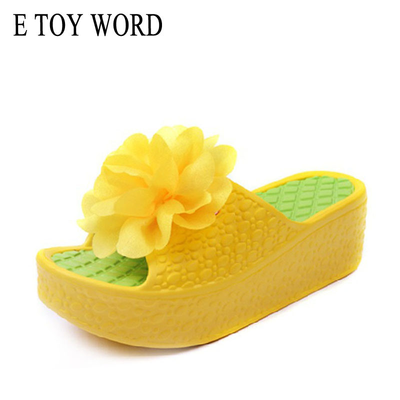 E TOY WORD Handmade Flower women slippers simulation flower beach sandals wedges Platform slippers 2018 Hot summer women shoes phyanic 2017 gladiator sandals gold silver shoes woman summer platform wedges glitters creepers casual women shoes phy3323
