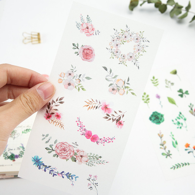 6Sheets/Set Summer Leaves Plants Creative Decoration Scrapbooking Stickers Transparent PVC Stationery Planner Stickers 1