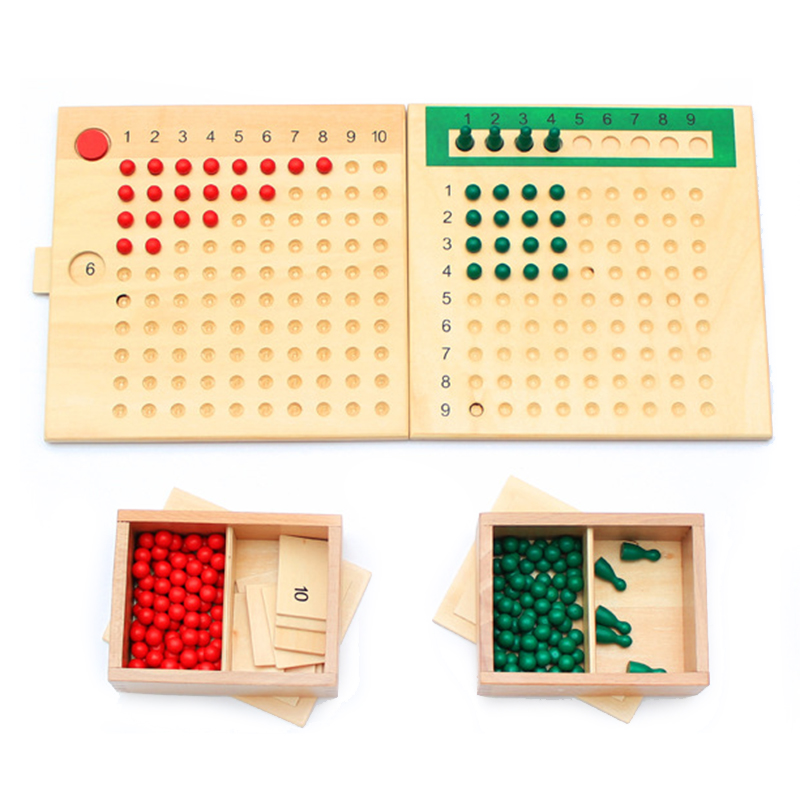 Montessori Mathematics Educational Wooden Toy Multiplication and Division Bead Board Red Green Beads Early Childhood Preschool montessori mathematics material 1 9 beads bar in wooden box early preschool toy p101