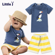 Little J 2pcs Cartoon Baby Boy Clothes Sets Short Sleeve T-Shirt+Short Pants Cotton Kid Clothing Set Spring Autumn Girls Clothes