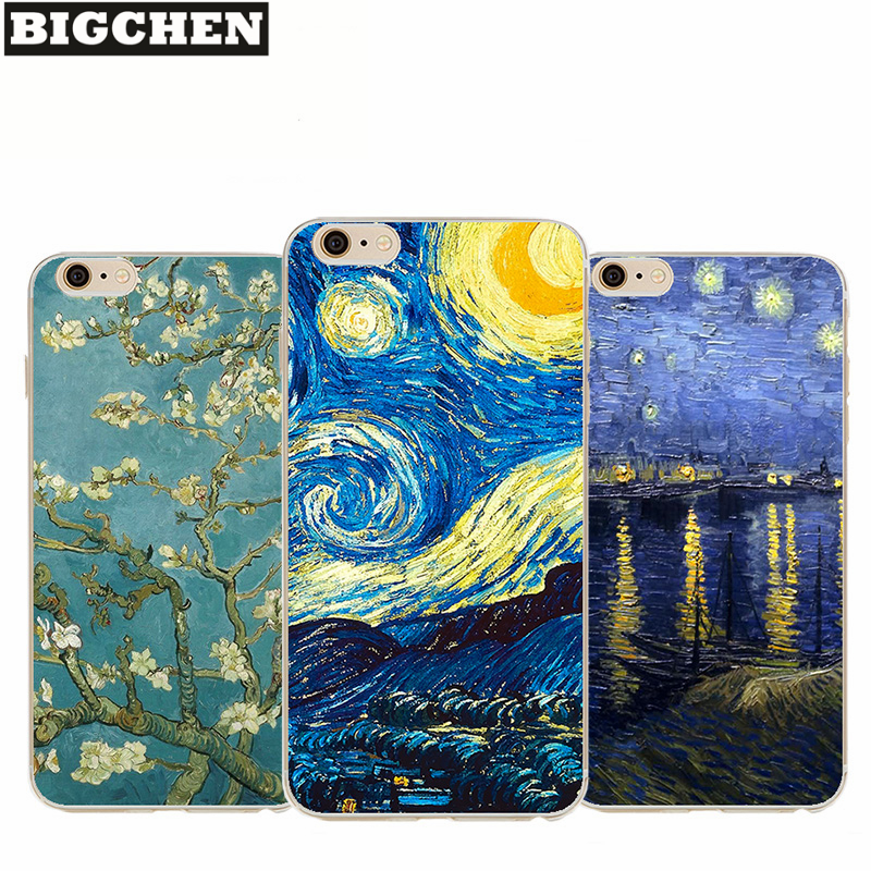 NganSek Vincent <font><b>Van</b></font> <font><b>Gogh</b></font> Fällen Für Apple <font><b>iphone</b></font> X 5 5S SE 6 6S 8 Plus Öl Malerei sunflower Starry Sky Nacht <font><b>Van</b></font> <font><b>Gogh</b></font> Fall image