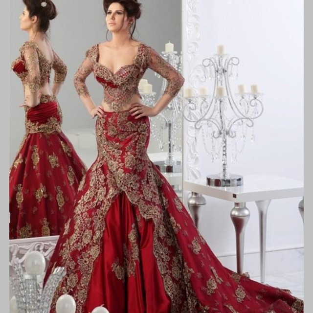 Red Xl Wedding Dress: Luxury Two Pieces Red Wedding Dresses With Sheer Gold