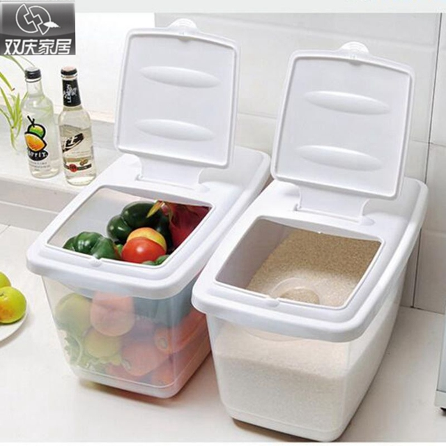 Awesome Rice Storage High Quality Plastic Pet Food Bin Dry Dried Food Cereal Flour  Storage Slidable Rice