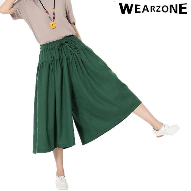 Nueva llegada de 5 colores 2016 del verano nuevas de impresión de algodón de lino pantalones anchos de la pierna pantalones casuales mujeres wed pierna pantalones capris moda