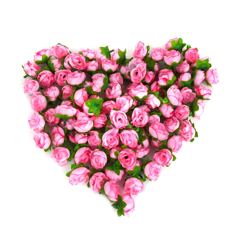 100pcs a set rose artificial silk flower heads wedding for Artificial flower for decoration