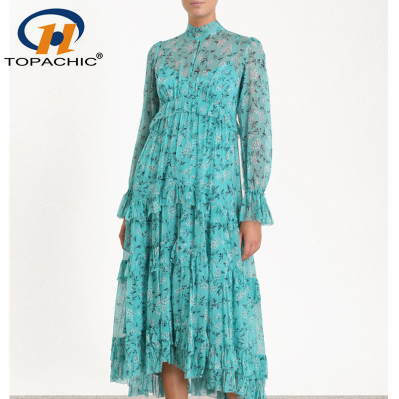 4 22 2019 Summer Female Bohemian Print Cascading Ruffle Flare Sleeve Stand collar Ankle Length dress