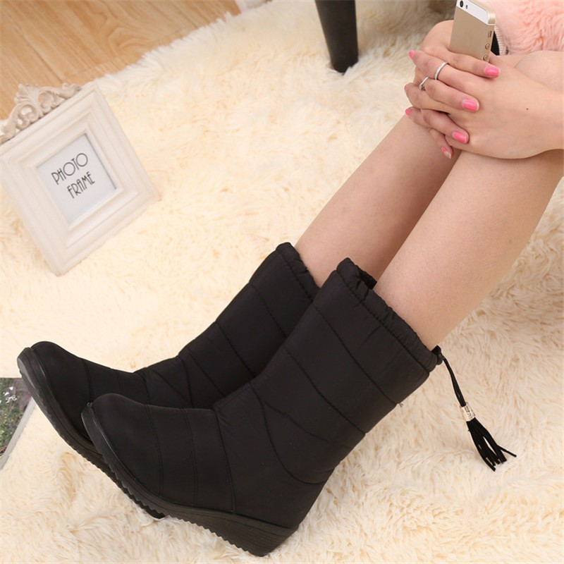 модные женские ботинки женский кисточкой зимние ботильоны пух клинья снегоступы дамская обувь женские теплые сапоги